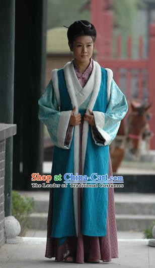 Chinese Ancient Song Dynasty Poetess Litterateur Li Qingzhao Replica Costume for Women