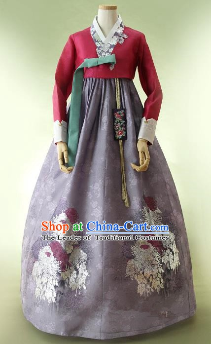 Korean Traditional Bride Hanbok Wine Red Blouse and Purple Embroidered Dress Ancient Formal Occasions Fashion Apparel Costumes for Women