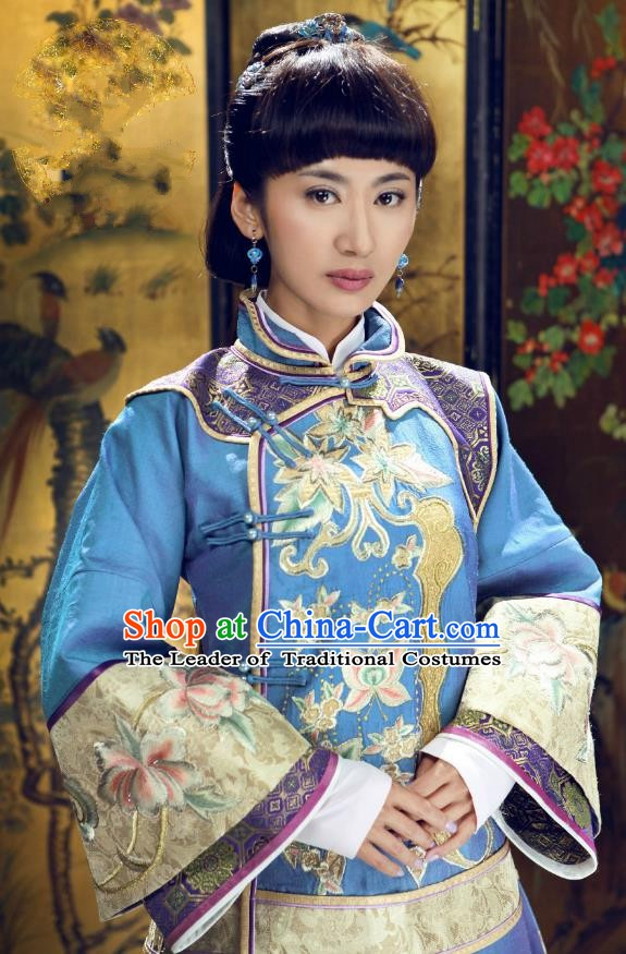 Ancient Chinese Qing Dynasty Young Mistress Replica Costume Embroidered Xiuhe Suit for Women