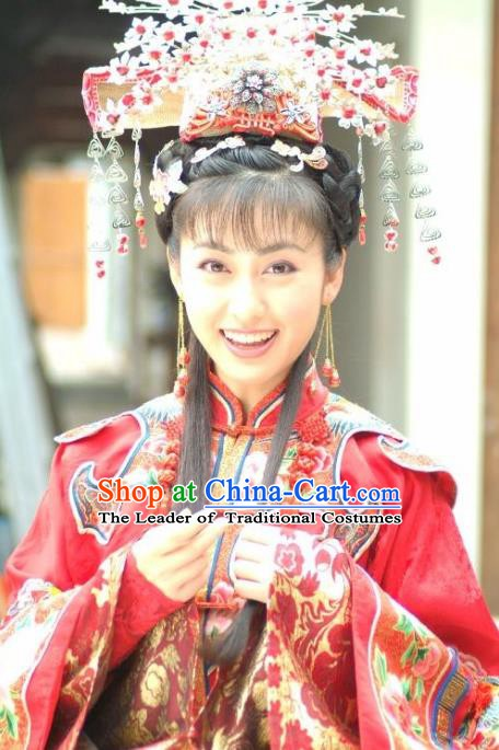 Ancient Chinese Qing Dynasty Palace Lady Wedding Embroidered Replica Costume and Headpiece Complete Set for Women