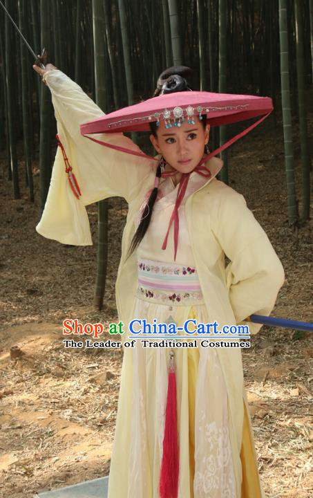 Ancient Chinese Ming Dynasty Female Knight-errant Yellow Dress Swordswoman Replica Costume for Women