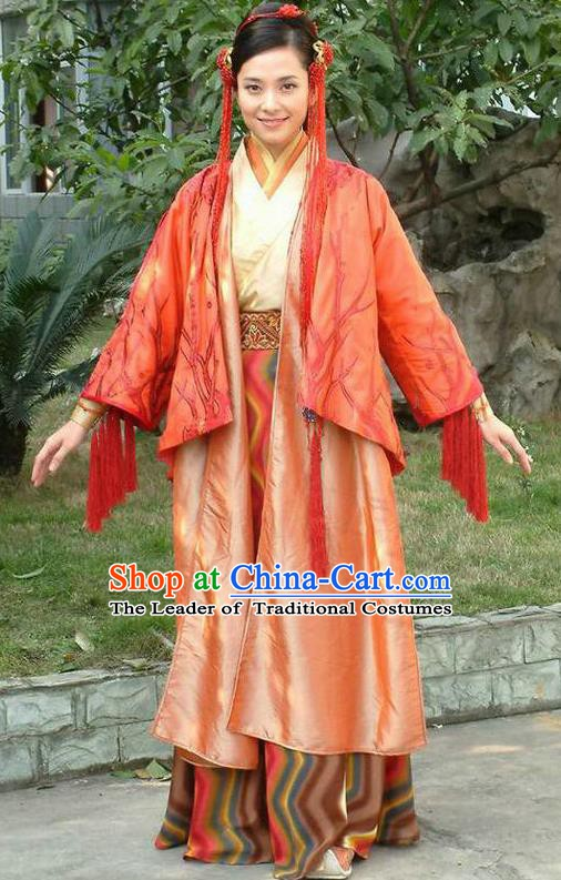 Ancient Chinese Ming Dynasty Female Knight-errant Red Dress Swordswoman Replica Costume for Women
