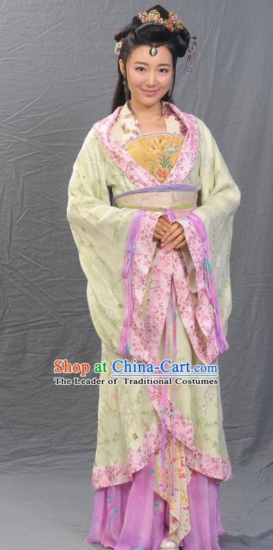 Ancient Chinese Song Dynasty Qinhuai Geisha Hanfu Dress Replica Costume for Women