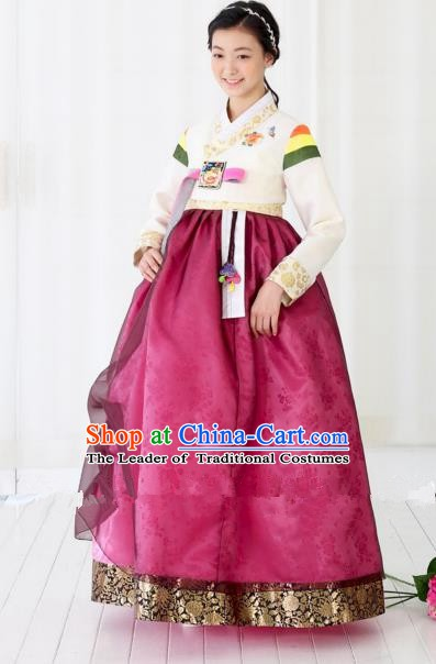 Korean Traditional Bride Hanbok White Blouse and Purple Embroidered Dress Ancient Formal Occasions Fashion Apparel Costumes for Women