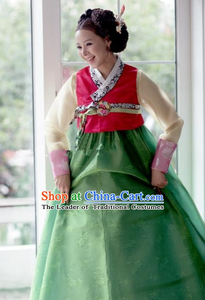 Korean Traditional Bride Hanbok Rosy Blouse and Green Embroidered Dress Ancient Formal Occasions Fashion Apparel Costumes for Women