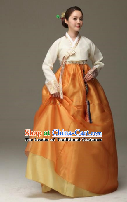 Korean Traditional Bride Hanbok White Blouse and Orange Dress Ancient Formal Occasions Fashion Apparel Costumes for Women
