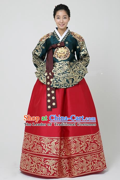 Korean Traditional Bride Hanbok Formal Occasions Peacock Green Blouse and Red Dress Ancient Fashion Apparel Costumes for Women