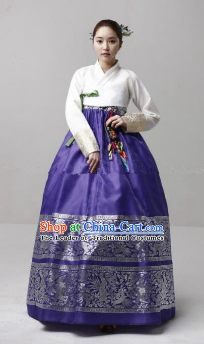 Korean Traditional Bride Hanbok Formal Occasions White Blouse and Purple Dress Ancient Fashion Apparel Costumes for Women