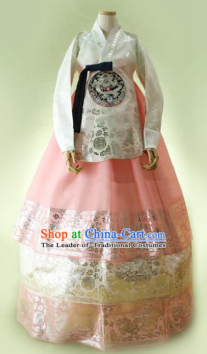 Korean Traditional Bride Hanbok Formal Occasions White Satin Blouse and Pink Dress Ancient Fashion Apparel Costumes for Women
