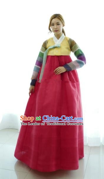 Korean Traditional Bride Hanbok Formal Occasions Yellow Blouse and Red Dress Ancient Fashion Apparel Costumes for Women