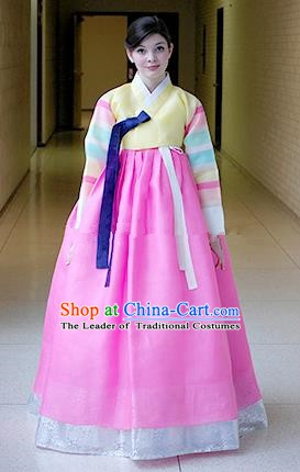 Korean Traditional Bride Hanbok Formal Occasions Yellow Blouse and Pink Dress Ancient Fashion Apparel Costumes for Women