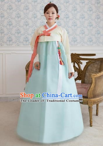 Korean Traditional Bride Hanbok Formal Occasions White Blouse and Light Blue Dress Ancient Fashion Apparel Costumes for Women