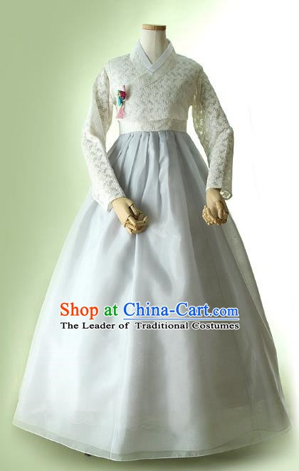 Korean Traditional Bride Hanbok Formal Occasions White Lace Blouse and Grey Dress Ancient Fashion Apparel Costumes for Women