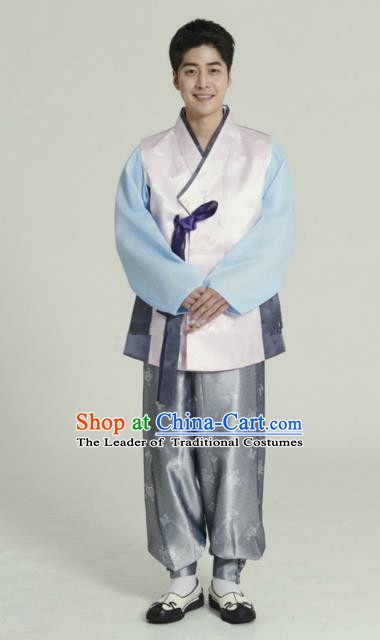 Traditional Korean Costumes Ancient Palace Korean Bridegroom Hanbok Pink Vest and Grey Pants for Men