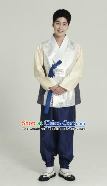Traditional Korean Costumes Ancient Palace Korean Bridegroom Hanbok White Vest and Navy Pants for Men