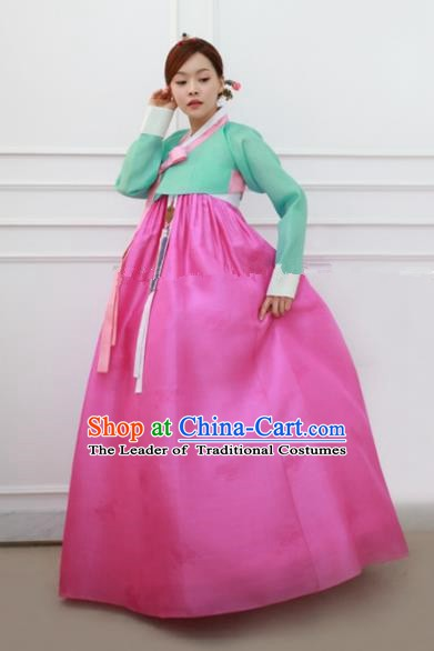 Korean Traditional Bride Hanbok Formal Occasions Green Blouse and Rosy Dress Ancient Fashion Apparel Costumes for Women