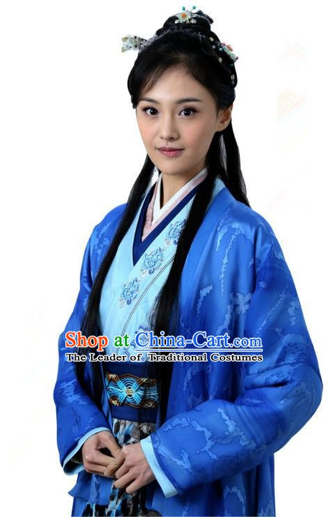 Ancient Chinese Song Dynasty Palace Princess Embroidered Blue Dress Replica Costume for Women