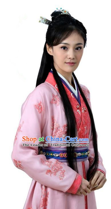 Ancient Chinese Song Dynasty Palace Princess Embroidered Pink Dress Replica Costume for Women