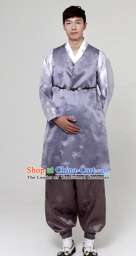 Traditional Korean Costumes Ancient Palace Korean Bridegroom Hanbok Lilac Vest and Grey Pants for Men
