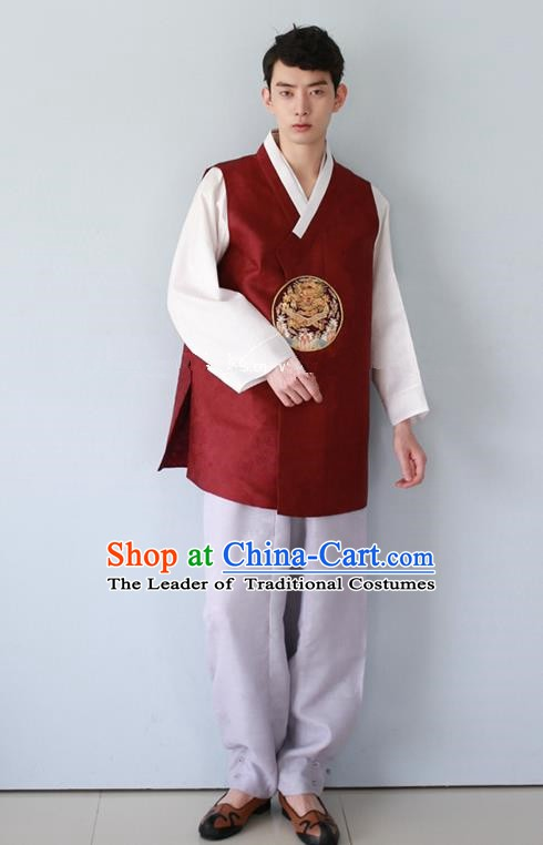 Traditional Korean Costumes Ancient Palace Korean Bridegroom Hanbok Wine Red Vest and Grey Pants for Men