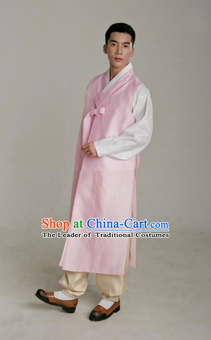 Traditional Korean Costumes Ancient Palace Korean Bridegroom Hanbok Pink Vest and Yellow Pants for Men