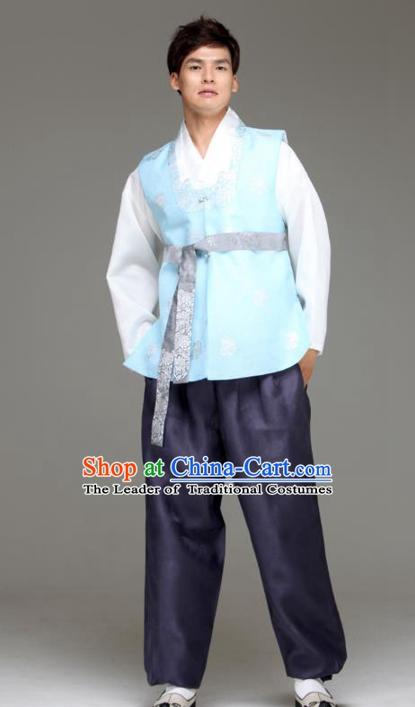 Traditional Korean Costumes Ancient Palace Korean Bridegroom Hanbok Blue Vest and Purple Pants for Men