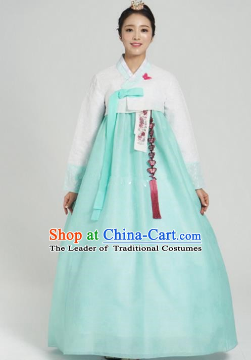 Korean Traditional Bride Tang Garment Hanbok Formal Occasions White Blouse and Green Dress Ancient Costumes for Women