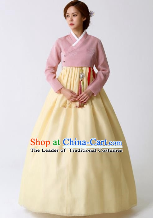 Korean Traditional Bride Tang Garment Hanbok Formal Occasions Pink Blouse and Yellow Dress Ancient Costumes for Women