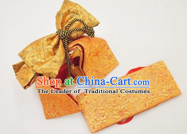 Japan Ancient Palace Kimonos Bowknot Brocade Belts Traditional Yukata Dress Waistband for Kids