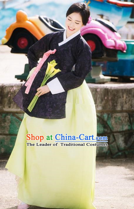 Korean Traditional Bride Tang Garment Hanbok Formal Occasions Navy Blouse and Yellow Dress Ancient Costumes for Women