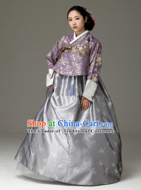 Korean Traditional Bride Tang Garment Hanbok Formal Occasions Purple Blouse and Grey Dress Ancient Costumes for Women
