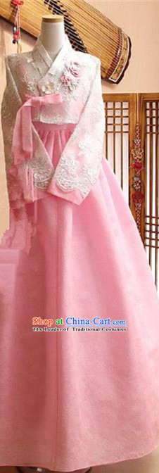 Korean Traditional Tang Garment Hanbok Formal Occasions White Lace Blouse and Pink Dress Ancient Costumes for Women