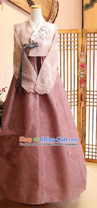 Korean Traditional Tang Garment Hanbok Formal Occasions Pink Dress Ancient Costumes for Women