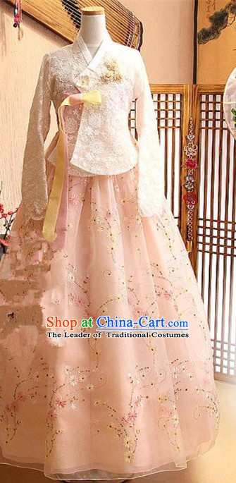 Korean Traditional Bride Tang Garment Hanbok Formal Occasions White Lace Blouse and Pink Dress Ancient Costumes for Women