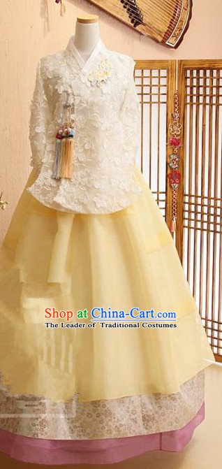 Korean Traditional Bride Tang Garment Hanbok Formal Occasions White Lace Blouse and Yellow Dress Ancient Costumes for Women