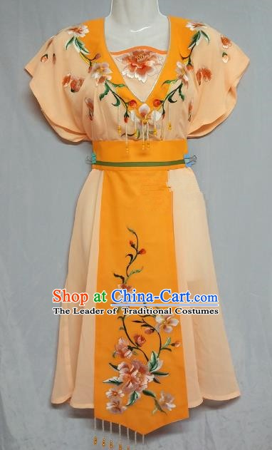 China Traditional Beijing Opera Maidservants Costume Chinese Peking Opera Maid Orange Dress