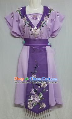 China Traditional Beijing Opera Maidservants Costume Chinese Peking Opera Maid Purple Dress