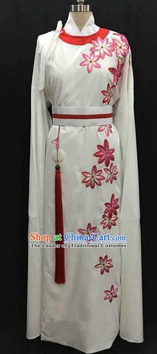 China Traditional Beijing Opera Niche Pink Flowers Robe Chinese Peking Opera Gifted Scholar Costume