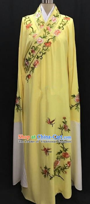 China Traditional Beijing Opera Niche Embroidered Peony Yellow Robe Chinese Peking Opera Gifted Scholar Costume
