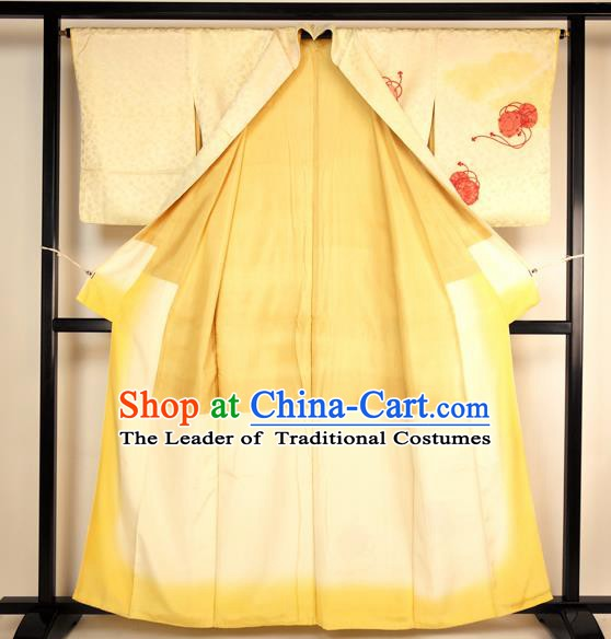 Japan Ancient Yellow Silk Furisode Kimonos Traditional Palace Yukata Dress Formal Costume for Women