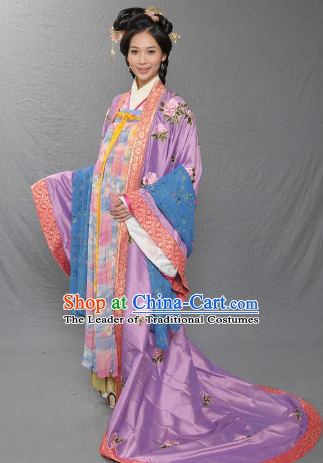 Chinese Song Dynasty Imperial Consort De of Zhao Yun Embroidered Dress Ancient Palace Replica Costume for Women