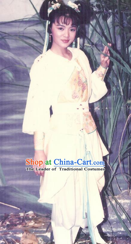 Chinese Song Dynasty Swordswoman Huang Rong Embroidered Dress Ancient Female Knight Replica Costume for Women