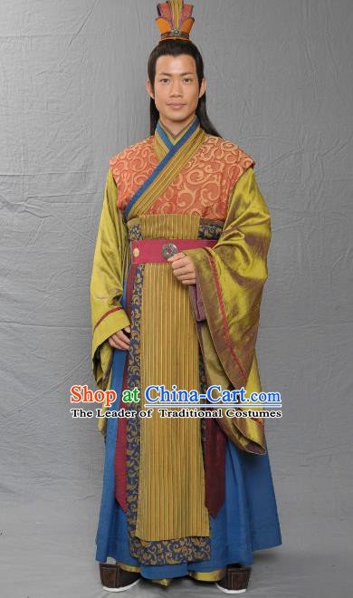Chinese Song Dynasty Emperor Zhao Guicheng Clothing Ancient Majesty Replica Costume for Men