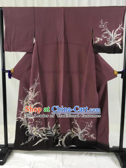 Japanese Ancient Palace Kimono Purple Yukata Robe Traditional Wafuku Hakama Haori Clothing for Men
