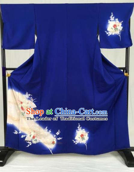 Asian Japan Palace Printing Royalblue Furisode Kimono Ancient Yukata Dress Formal Costume for Women