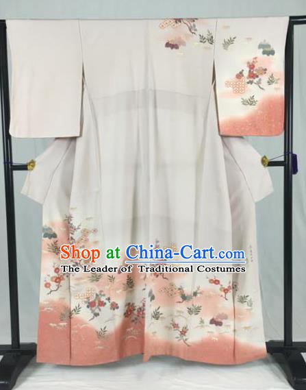 Japan Ancient Formal Costume Printing Flowers Furisode Kimonos Traditional Palace Yukata Dress for Women