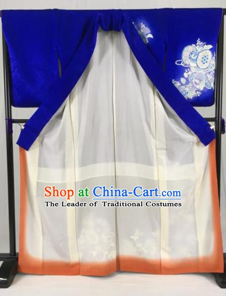 Japanese Ancient Male Kimono Costume Traditional Wafuku Hakama Royalblue Yukata Robe for Men