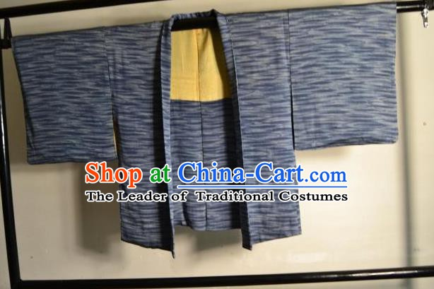 Japanese Ancient Male Kimono Costume Blue Haori Shirts Traditional Wafuku Hakama Yukata for Men