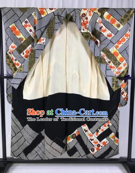 Japanese Traditional Grey Kimono Ancient Yukata Robe Wafuku Hakama Haori Clothing for Men