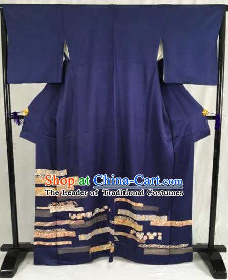 Japanese Traditional Navy Kimono Ancient Yukata Robe Wafuku Hakama Haori Clothing for Men